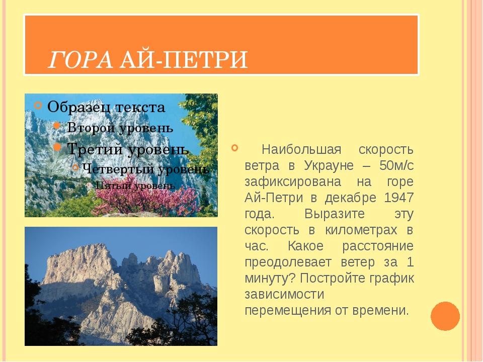 ГОРА АЙ-ПЕТРИ Наибольшая скорость ветра в Украуне – 50м/с зафиксирована на г...