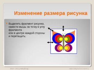 Изменение размера рисунка Выделить фрагмент рисунка, навести мышь на точку в