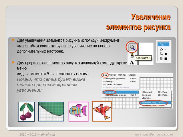 Увеличение элементов рисунка Для увеличения элементов рисунка используй инстр...