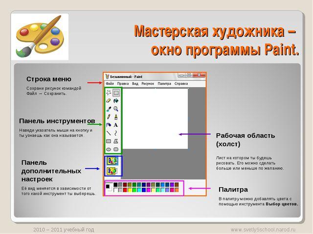 Мастерская художника – окно программы Paint. Панель инструментов Наведи указа...