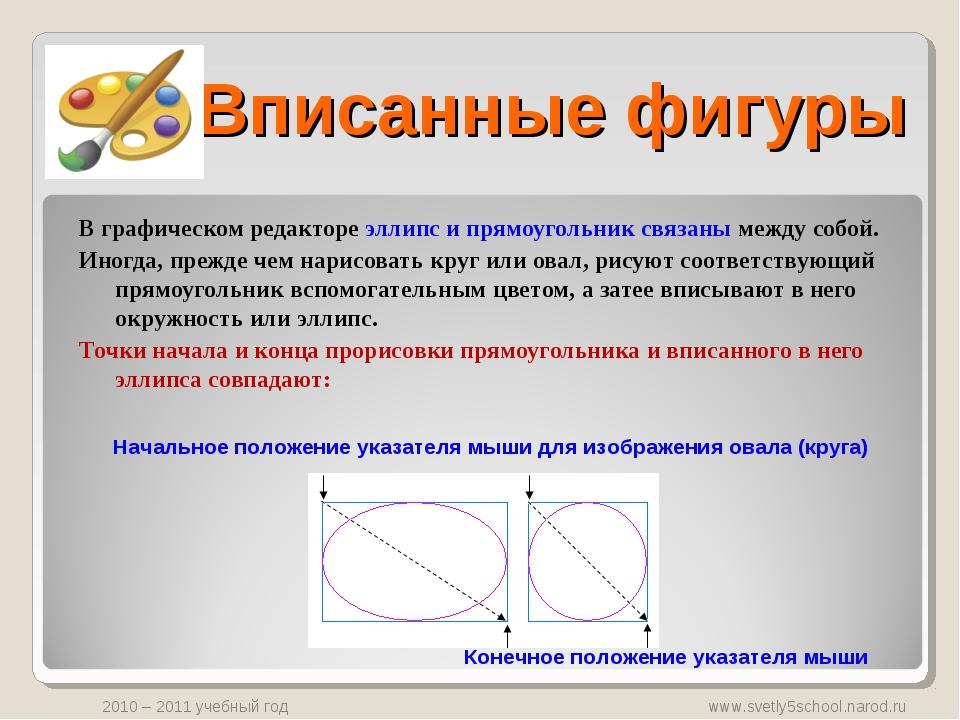 Вписанные фигуры В графическом редакторе эллипс и прямоугольник связаны между...