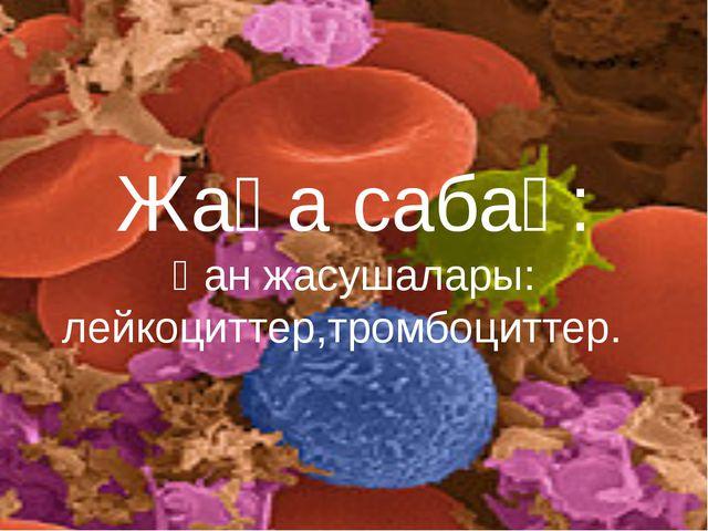 Жаңа сабақ: Қан жасушалары: лейкоциттер,тромбоциттер.