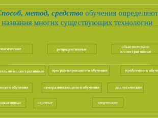 Способ, метод, средствообучения определяют названия многих существующих техн