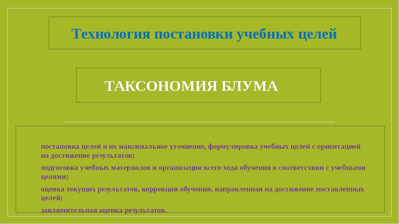 Технология постановки учебных целей ТАКСОНОМИЯ БЛУМА постановка целей и их ма...