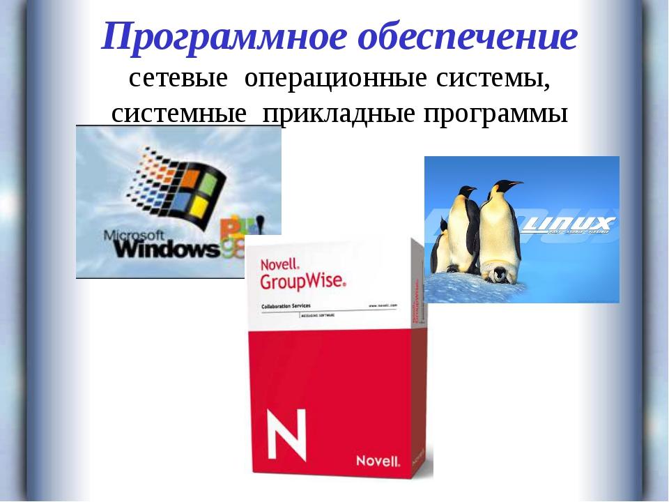 Программное обеспечение сетевые операционные системы, системные прикладные пр...