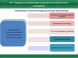 Требования к психолого-педагогическому обеспечению Формирование профессиональ
