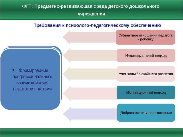 Требования к психолого-педагогическому обеспечению Формирование профессиональ...