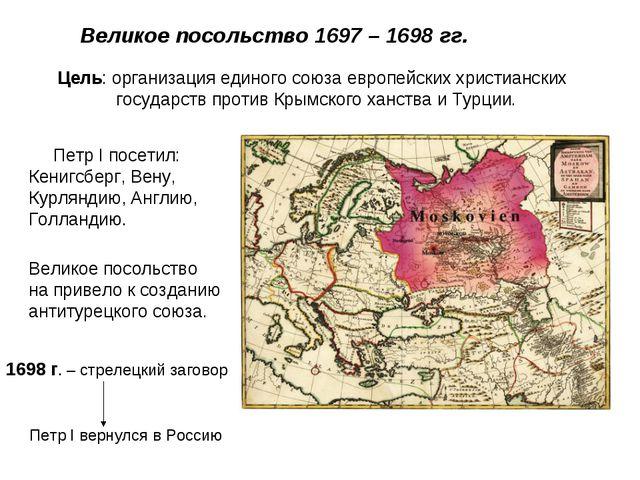 Великое посольство 1697 – 1698 гг. Цель: организация единого союза европейск...