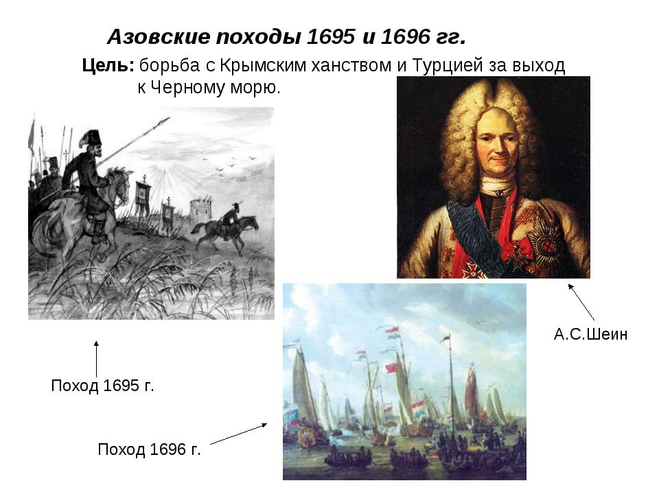Азовские походы 1695 и 1696 гг. Цель: борьба с Крымским ханством и Турцией з...