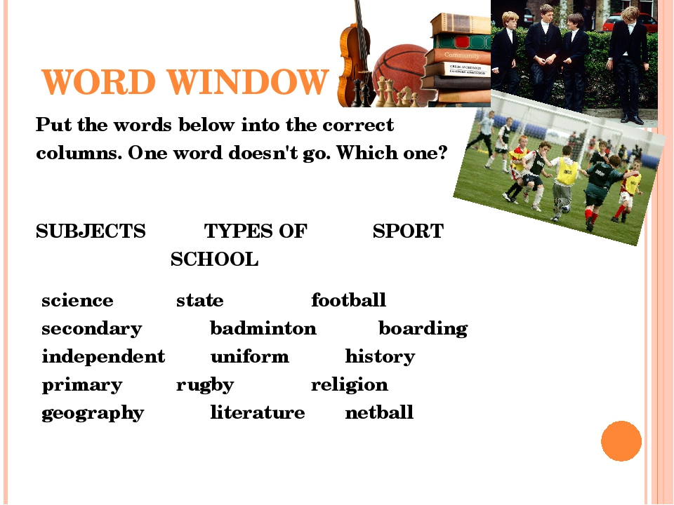 WORD WINDOW Put the words below into the correct columns. One word doesn't go...