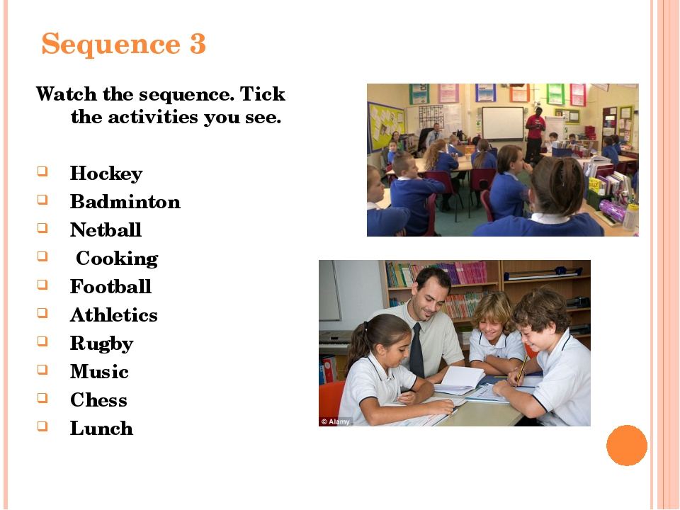 Sequence 3 Watch the sequence. Tick the activities you see. Hockey  Badminto...