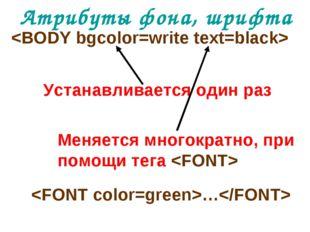 Атрибуты фона, шрифта  Устанавливается один раз Меняется многократно, при пом