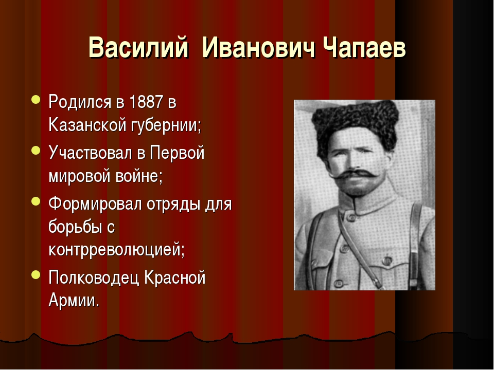 Василий Иванович Чапаев Родился в 1887 в Казанской губернии; Участвовал в Пер...