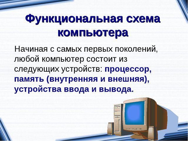 Функциональная схема компьютера Начиная с самых первых поколений, любой компь...