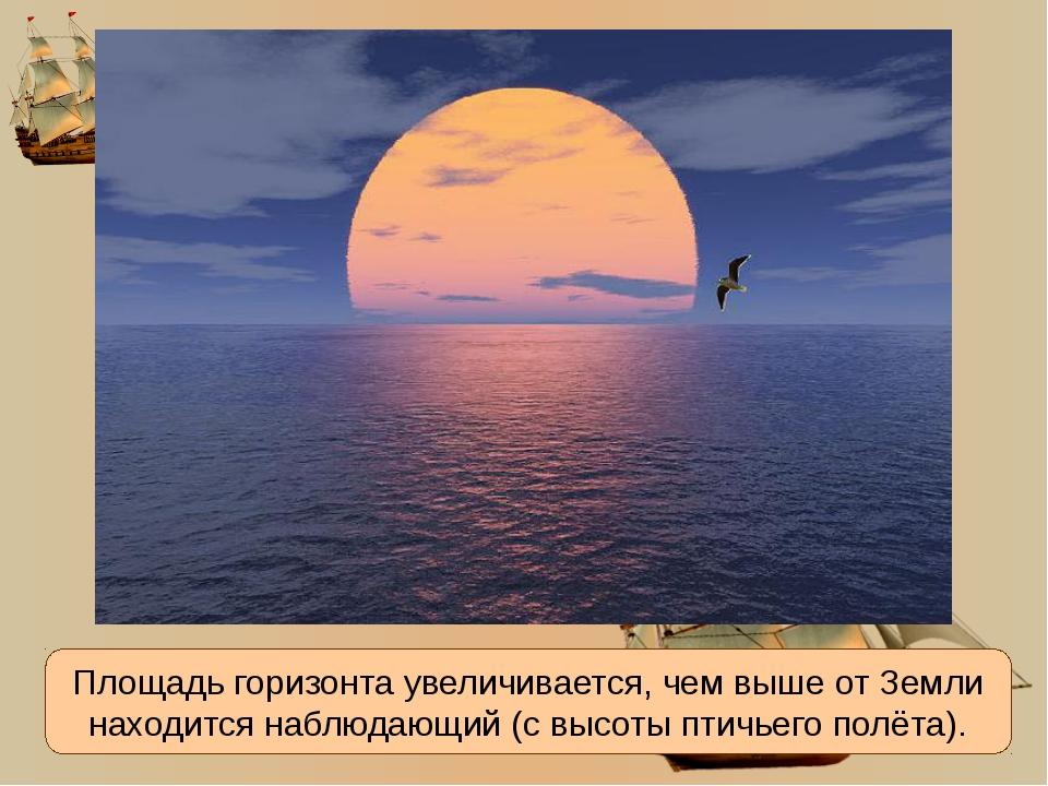 Площадь горизонта увеличивается, чем выше от Земли находится наблюдающий (с в...