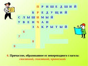 6. Причастие, образованное от непереходного глагола: свисавший, списавший, пр