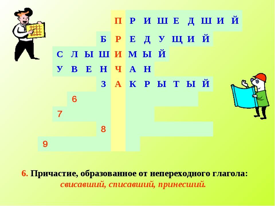 6. Причастие, образованное от непереходного глагола: свисавший, списавший, пр...