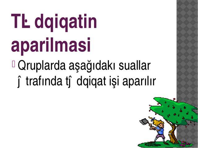 Tədqiqatin aparilmasi Qruplarda aşağıdakı suallar ətrafında tədqiqat işi apar...