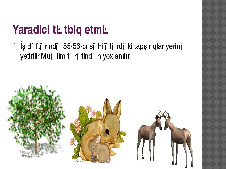 Yaradici tətbiq etmə İş dəftərində 55-56-cı səhifələrdəki tapşırıqlar yerinə...