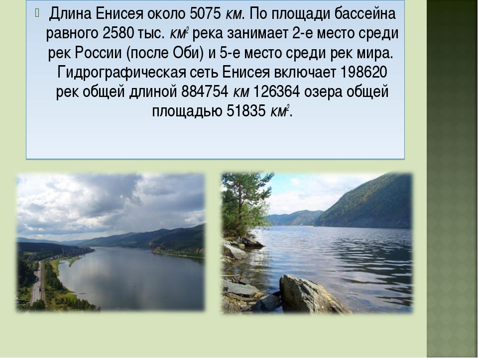Длина Енисея около 5075 км. По площади бассейна равного 2580 тыс. км2 река за...