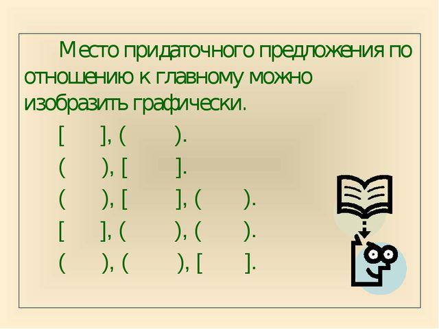 Место придаточного предложения по отношению к главному можно изобразить графи...