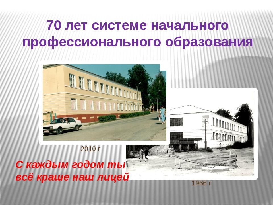 70 лет системе начального профессионального образования 2010 г 1966 г С кажды...