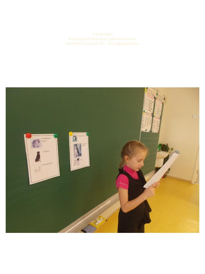 5-й раздел Исследовательская деятельность: занятия в клубе «Я – исследователь»