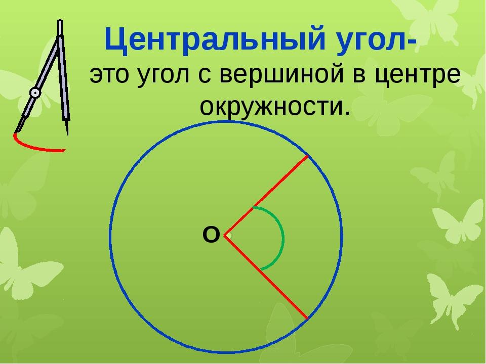 Центральный угол- это угол с вершиной в центре окружности. О