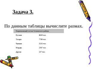 Задача 3. По данным таблицы вычислите размах. Национальный состав Тетюшского