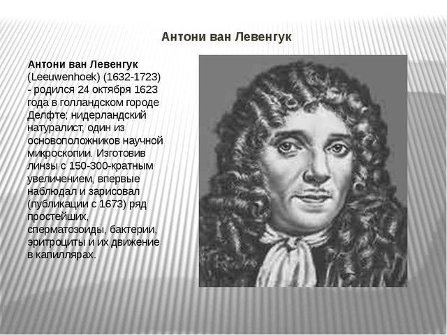 Антони ван Левенгук Антони ван Левенгук (Leeuwenhoek) (1632-1723) - родился2...