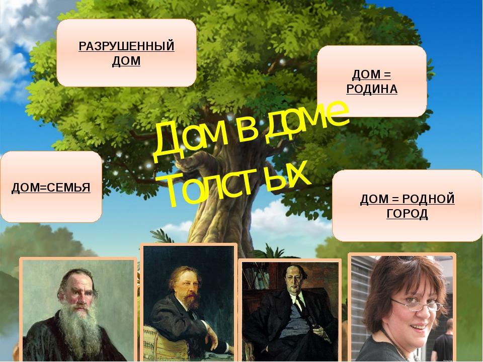 ДОМ=СЕМЬЯ РАЗРУШЕННЫЙ ДОМ ДОМ = РОДИНА ДОМ = РОДНОЙ ГОРОД Дом в доме Толстых