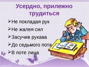 Усердно, прилежно трудиться Не покладая рук Не жалея сил Засучив рукава До се