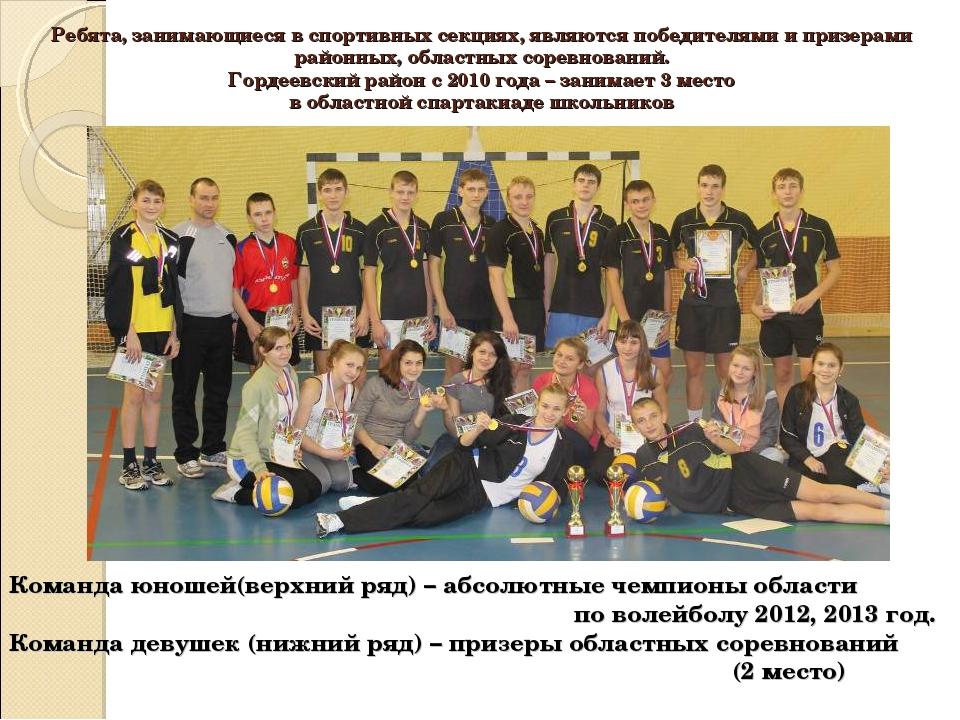 Ребята, занимающиеся в спортивных секциях, являются победителями и призерами...