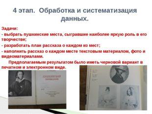 Задачи: - выбрать пушкинские места, сыгравшие наиболее яркую роль в его творч