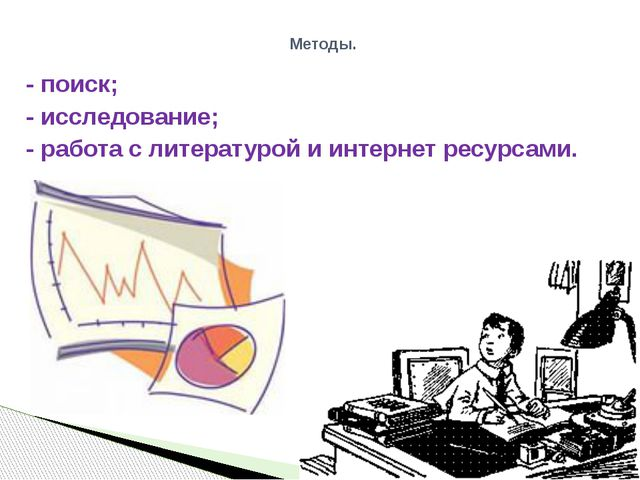 - поиск; - исследование; - работа с литературой и интернет ресурсами. Методы.