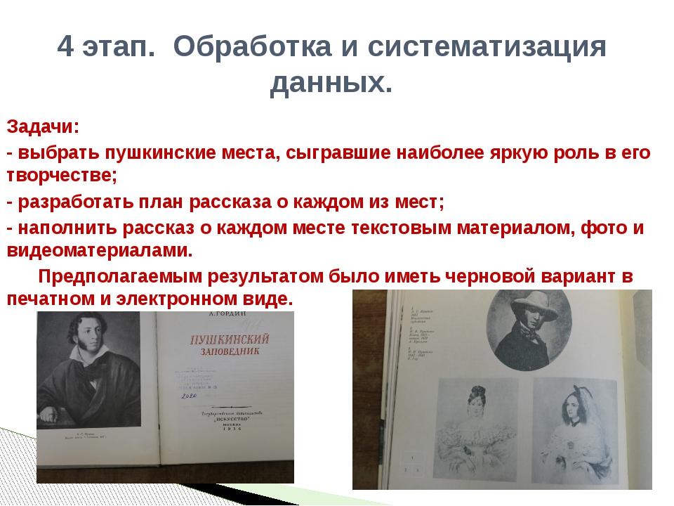 Задачи: - выбрать пушкинские места, сыгравшие наиболее яркую роль в его творч...