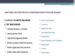 СИСТЕМА ЧАСТЕЙ РЕЧИ В СОВРЕМЕННОМ РУССКОМ ЯЗЫКЕ САМОСТОЯТЕЛЬНЫЕ СЛУЖЕБНЫЕ мод