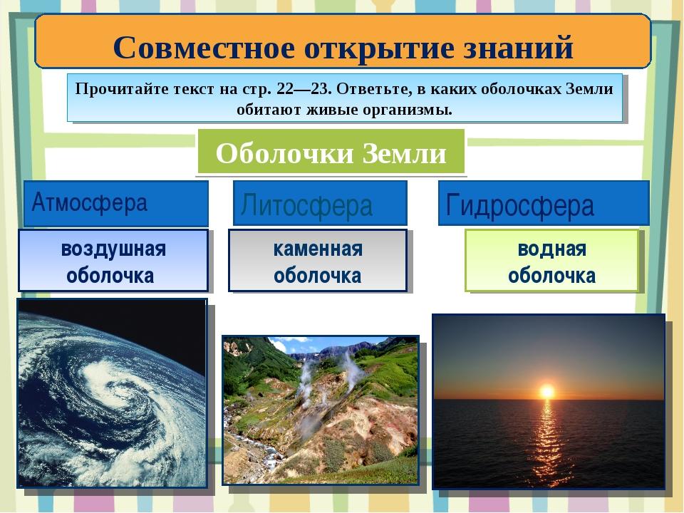 Оболочки Земли Атмосфера Литосфера Гидросфера воздушная оболочка каменная обо...