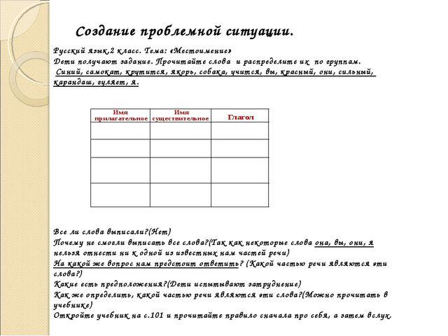 Создание проблемной ситуации. Русский язык.2 класс. Тема: «Местоимение» Дети...