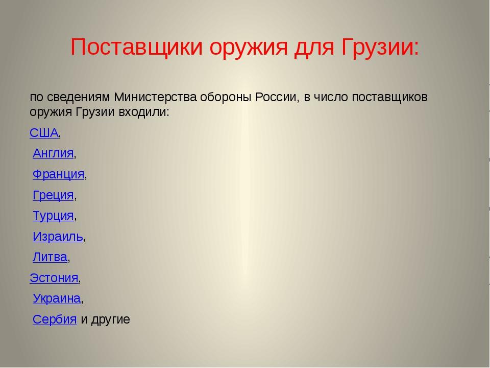 Поставщики оружия для Грузии: по сведениям Министерства обороны России, в чис...