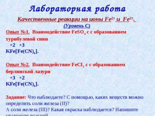 Качественные реакции на ионы Fe2+ и Fe3+. (Уровень С) Опыт №1. Взаимодействие