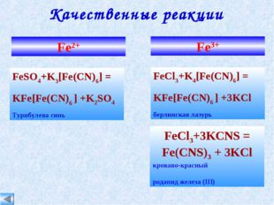 Качественные реакции Fe2+ Fe3+ FeCl3+K4[Fe(CN)6] = KFe[Fe(CN)6 ] +3KCl берлин