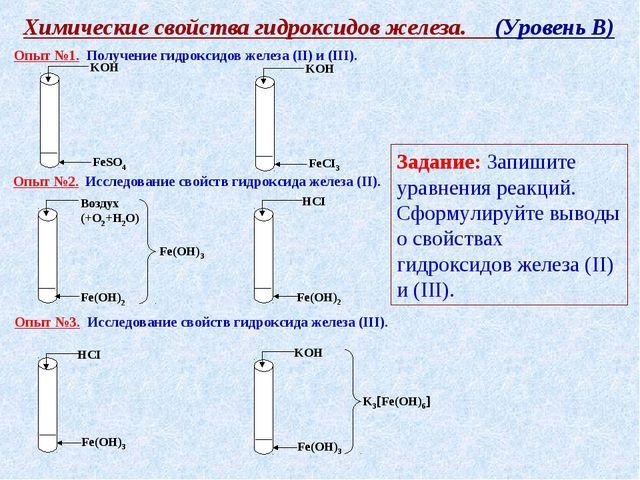 Химические свойства гидроксидов железа. (Уровень В) Опыт №1. Получение гидрок...