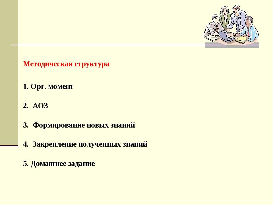 Методическая структура 1. Орг. момент 2. АОЗ 3. Формирование новых знаний 4....