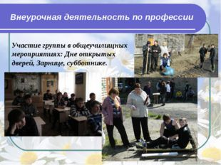 Внеурочная деятельность по профессии Участие группы в общеучилищных мероприят