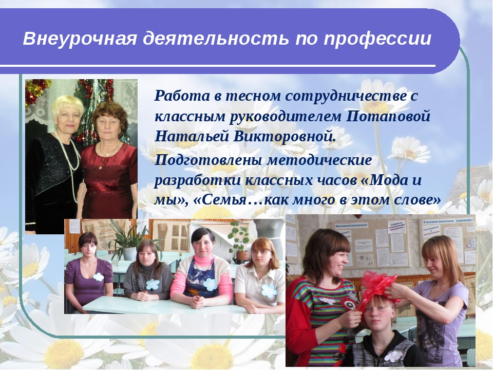 Внеурочная деятельность по профессии Работа в тесном сотрудничестве с классны...
