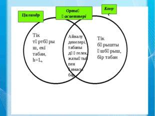 Цилиндр Ортақ қасиеттері Конус Венн диаграммасы Айналу денелері, табаны дөңге