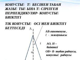 КОНУСТЫҢ ЭЛЕМЕНТТЕРІ КОНУСТЫҢ ТӨБЕСІНЕН ТАБАН ЖАЗЫҚТЫҒЫНА ТҮСІРІЛГЕН ПЕРПЕНДИ
