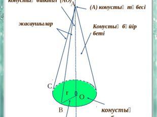 КОНУСТЫҢ ЭЛЕМЕНТТЕРІ конустың биіктігі (АО) А конустың осі (А) конустың төбес