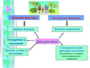 Дисциплина Внешние факторы Поощрения и наказания Осознанность своих действий